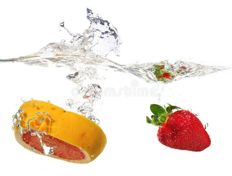 Grapefruit and strawberry stock photo