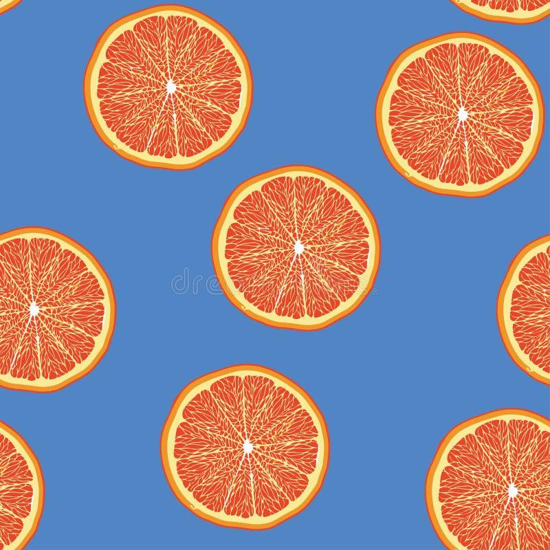 Grapefruitowego plasterka wzoru bezszwowy pantone royalty ilustracja