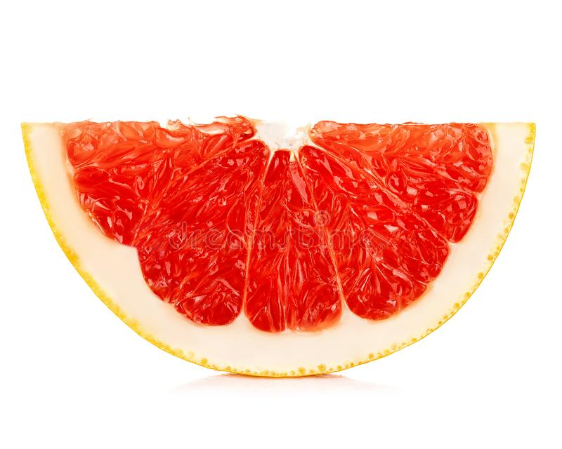 Grapefruitowy plasterek odizolowywaj?cy na bia?ym tle obrazy royalty free