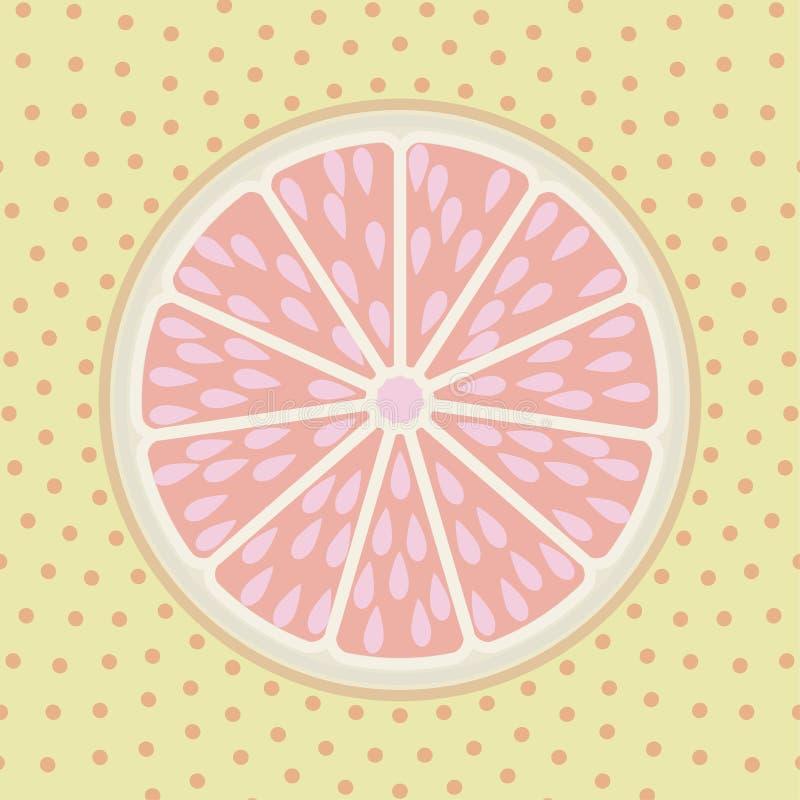 Grapefruitowy plasterka wystrzału sztuki stylu tło royalty ilustracja