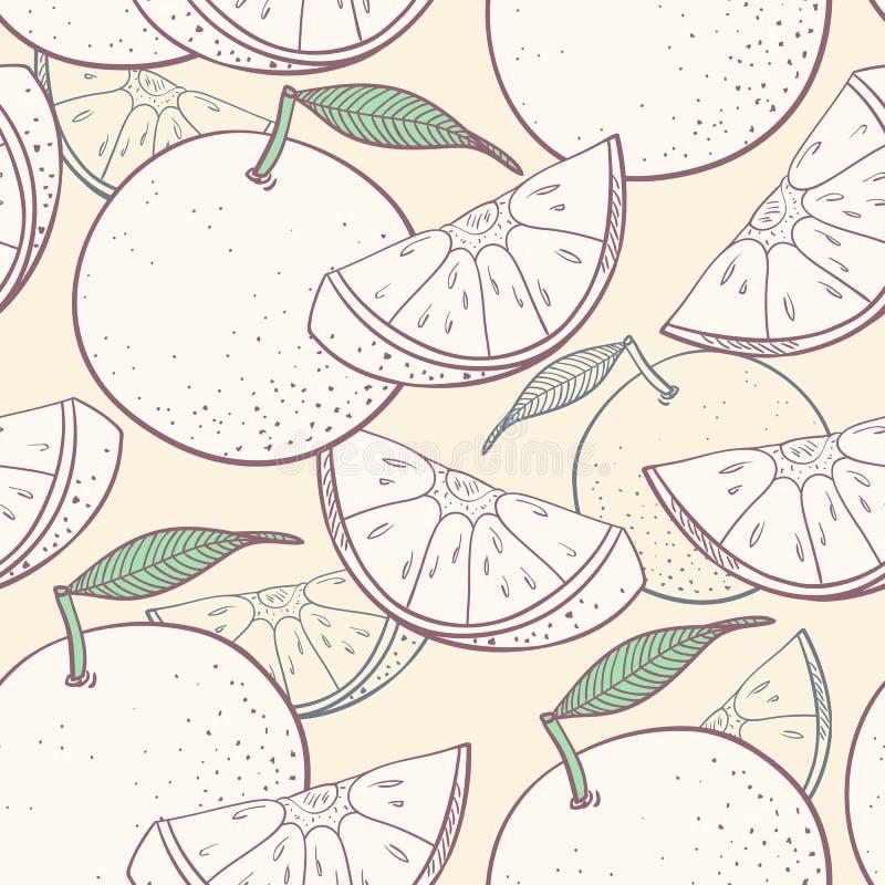 Grapefruitowy stylizowany bezszwowy wzór royalty ilustracja