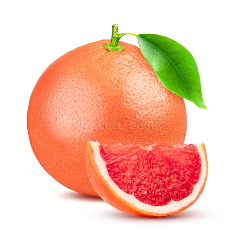 Grapefruitowy z liściem odizolowywającym na białym tle Z ścinek ścieżką Pełna głębia pole obrazy royalty free