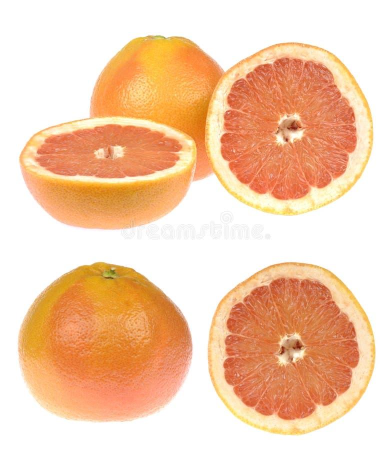 Grapefruitreeks Tropische citrusvruchten en ronde die plak op witte achtergrond worden geïsoleerd royalty-vrije stock foto