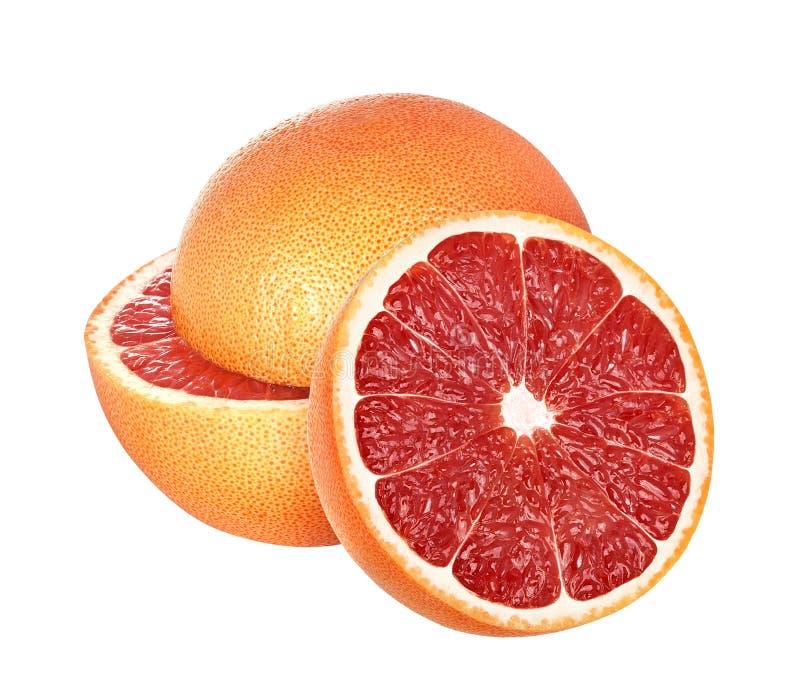 Grapefruits op witte achtergrond, met het knippen van weg worden geïsoleerd die stock foto