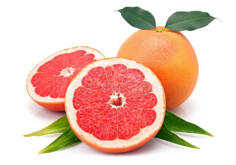 Grapefruitvruchten met geïsoleerde besnoeiingen en groen blad stock afbeelding