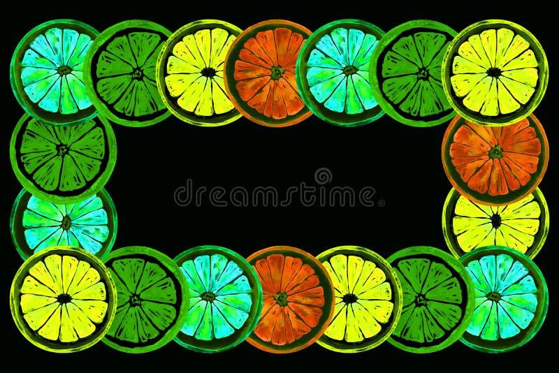 Grapefrukt, apelsin, limefrukt och citron, horisontalramhälsningkort eller banerdesign, ljus färgpalett för neon royaltyfri illustrationer