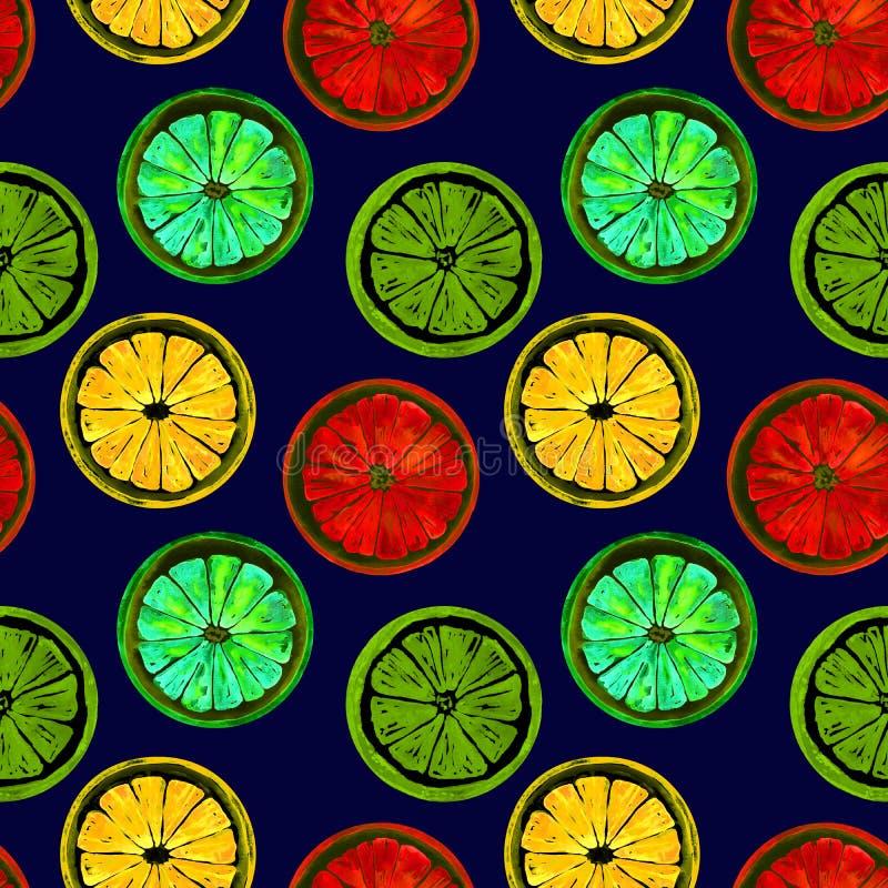 Grapefrukt, apelsin, limefrukt och citron, ljus neonfärgpalett på mörker - blå bakgrund royaltyfri illustrationer
