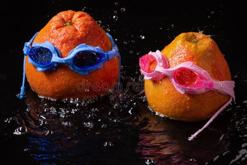 Grapefrukt två, i att simma skyddsglasögon, i vattnet, så, om folket simmar, regnar det, och det finns många bristningar, royaltyfri foto