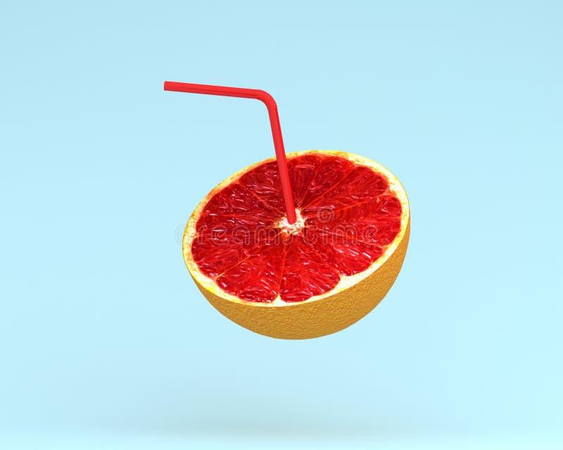Grapefruktfruktsaft, orange skiva med sugrör på pastellblåttbackgro arkivbilder