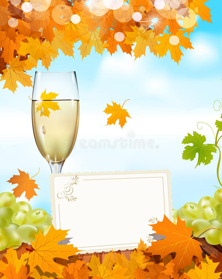 Free Grapes And A Glass Of Wine With A Greeting Card Stock Image - 20263691