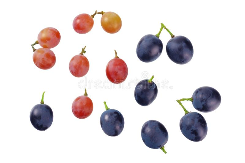 Grapes berries isolated on white background. top view stock photo