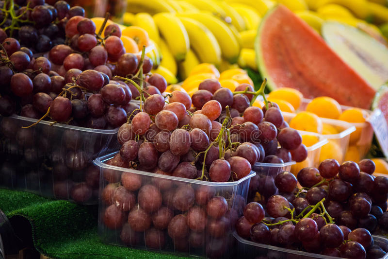 Download Grapes In Boxes At A Farmers Market Stock Photo - Image: 83723492