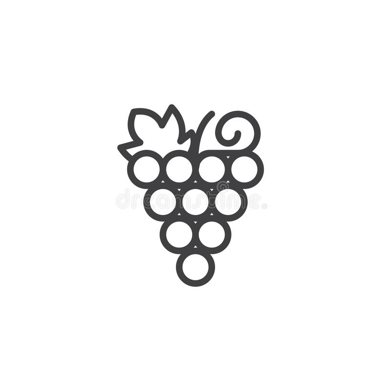 Grapes bunch outline icon stock illustration