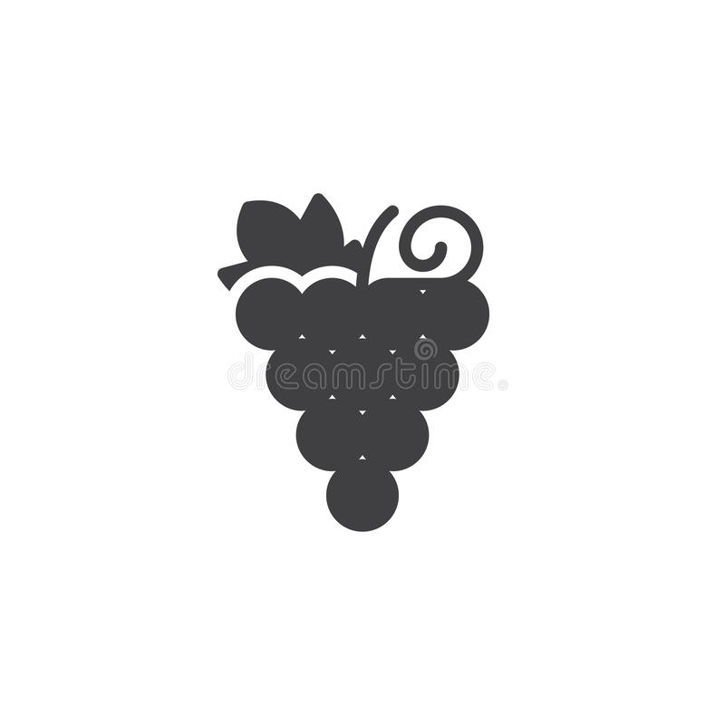 Grapes bunch vector icon. Filled flat sign for mobile concept and web design. Healthy fruit simple solid icon. Symbol, logo illustration. Pixel perfect vector vector illustration