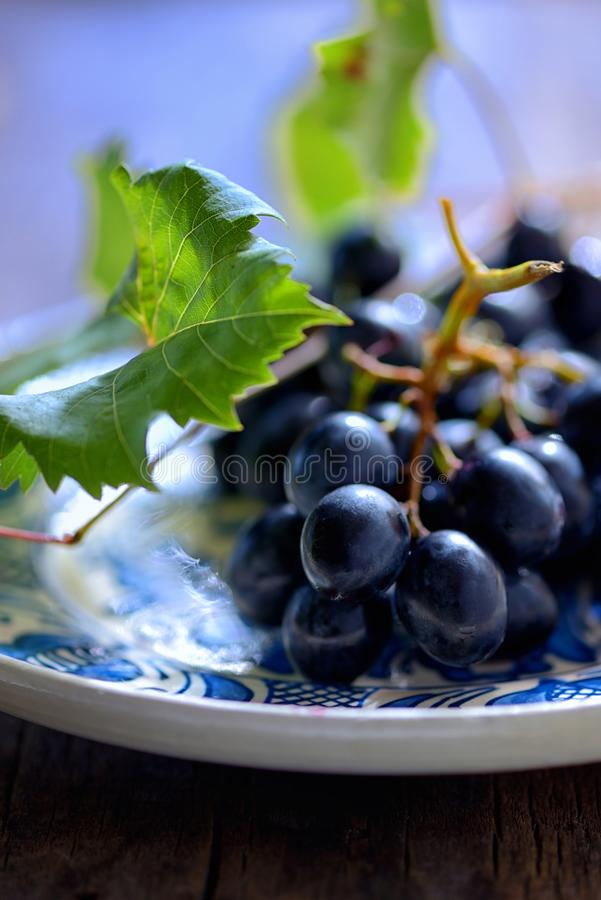Grapes on a clay plate. Grapes on a rustic clay plate royalty free stock photo