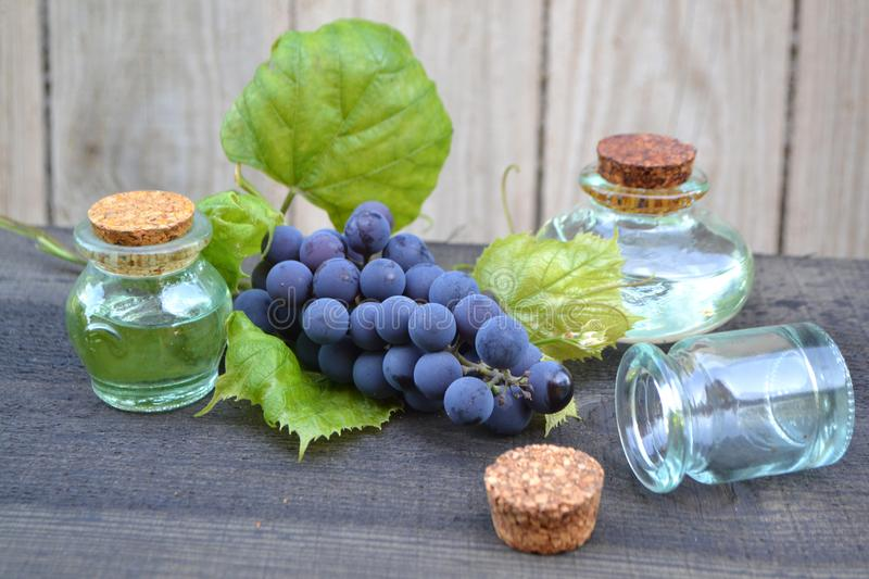 Grapes essential oil in a glass bottle on old rustic wooden boards. Blue grape with green leaves stock photos