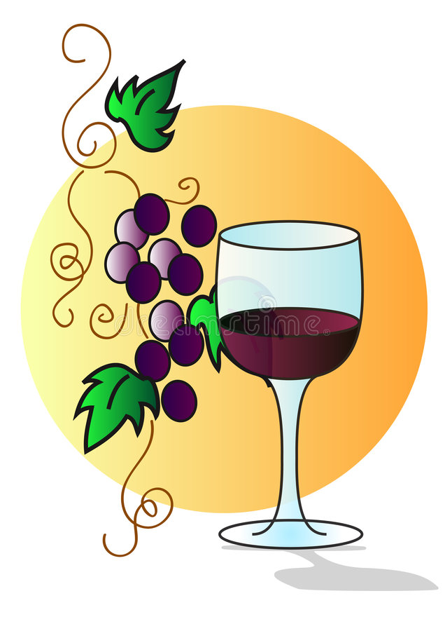 Download Grapes with glass stock illustration. Illustration of alcohol - 7252148