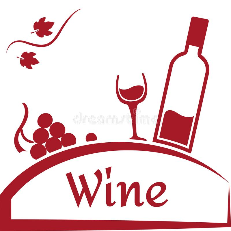 Grapes, glass and bottle of wine. Wine logo design. Red brand for wine company or winery. Vector vector illustration