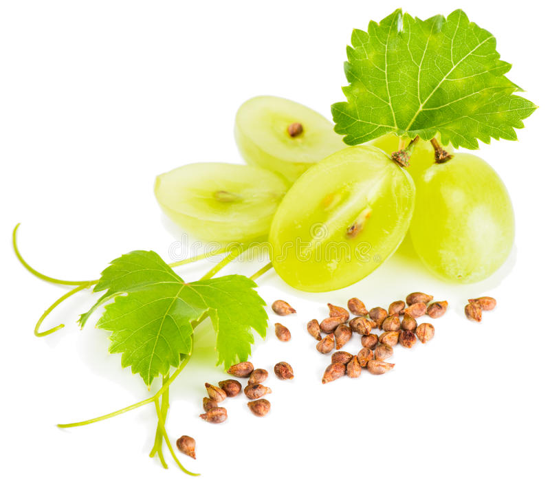 Grapes and grape seeds royalty free stock photo