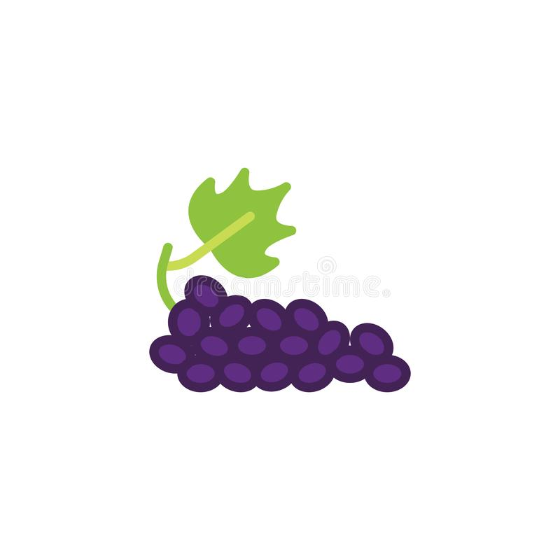 Grapes with leaf flat icon stock illustration