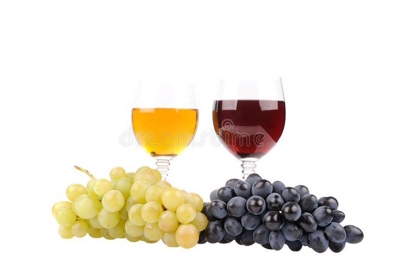 Grapes with leaf and wine in the glass. Alcohol, background, bar, beverage, blank, cabernet, celebration, clean, clear, drink, elegance, food, full, glasses royalty free stock photo