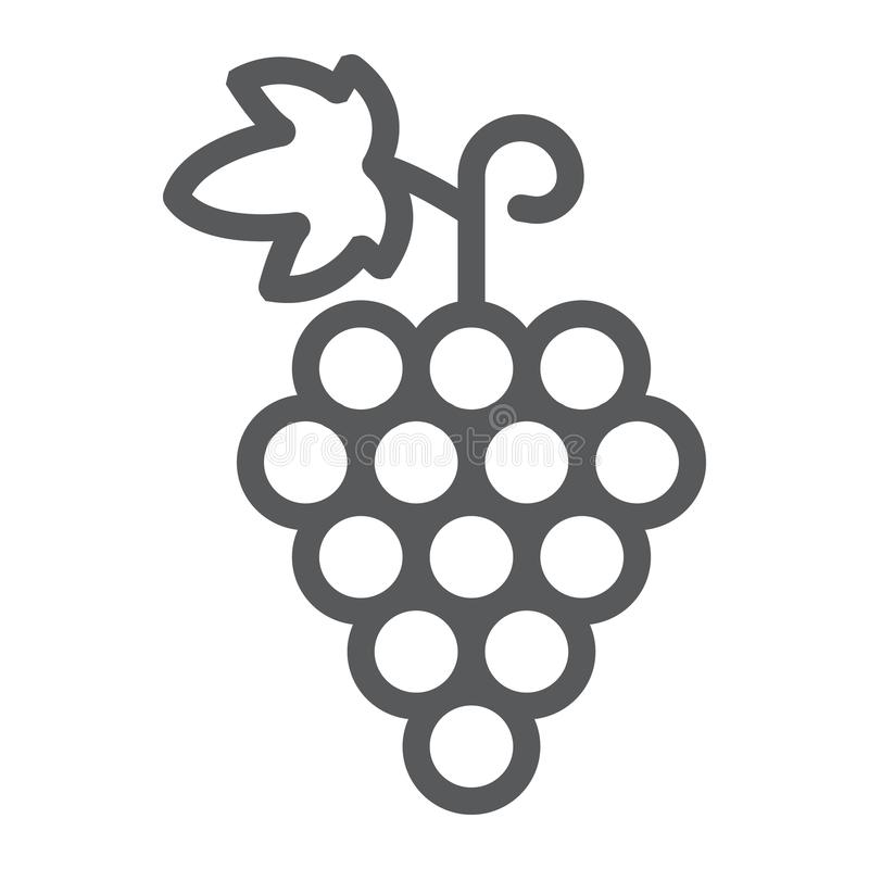 Free Grapes Line Icon, Fruit And Vitamin, Vine Sign Royalty Free Stock Photography - 121220967