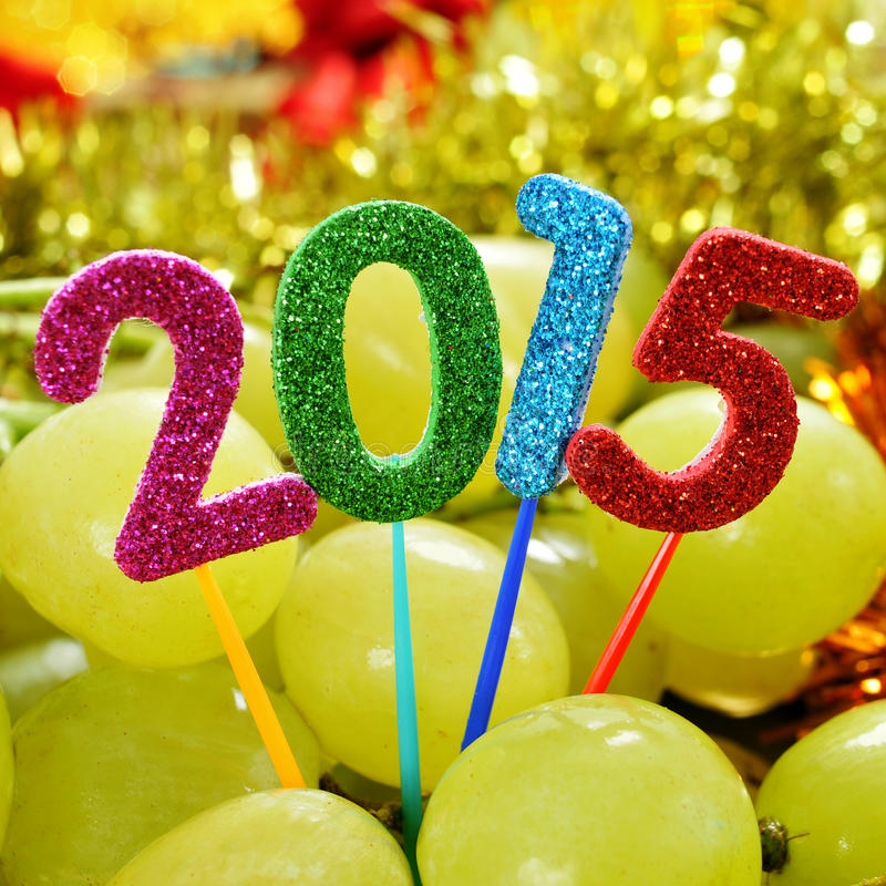 Grapes and the number 2015, as the new year stock image
