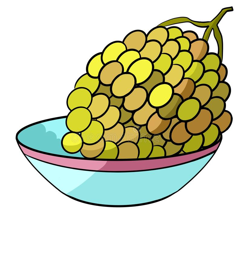 Grapes on a plate. Beautiful green grapes with different shades of yellow lies in a deep blue plate with a red border vector illustration