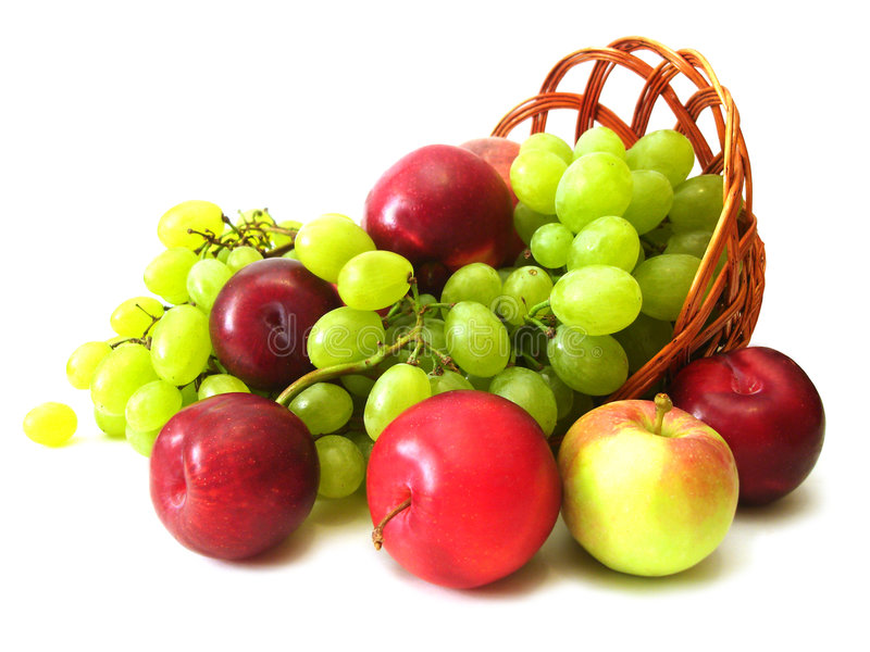 Grapes, plume and apple. Peach, grapes, plume and apple in basket stock photo