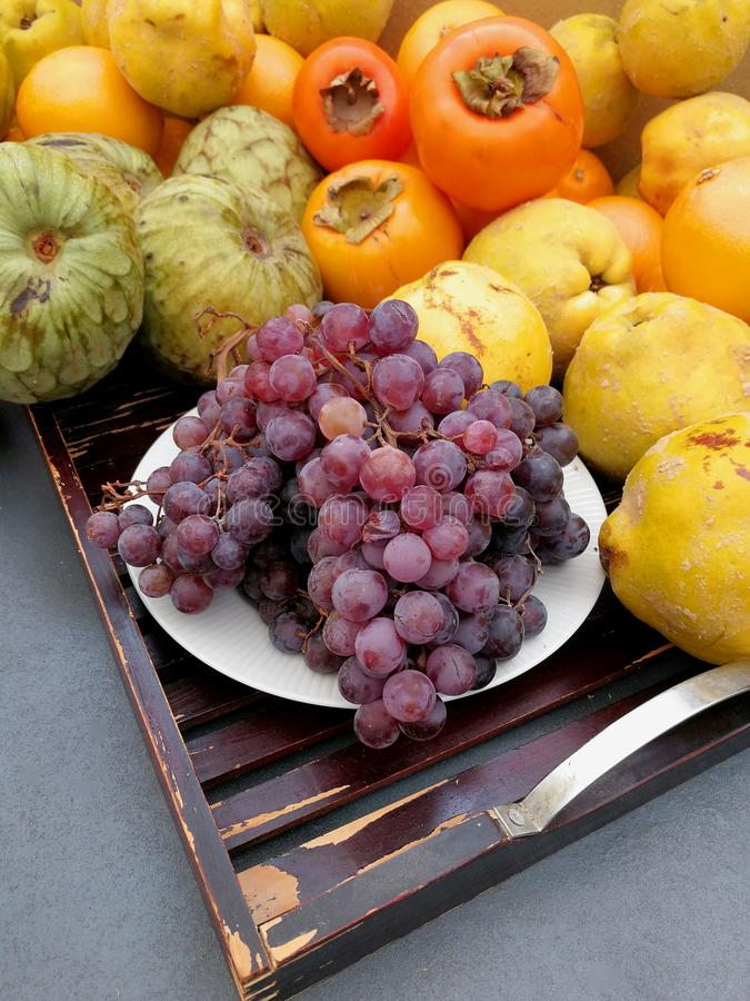 Grapes, quinces and autumn fruits stock image