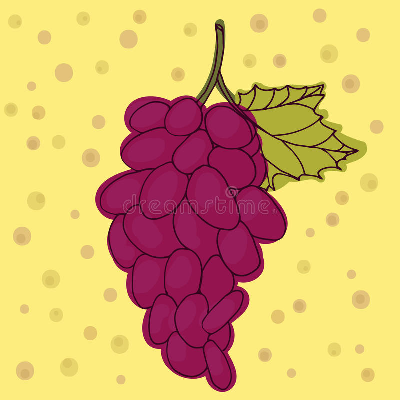 Grapes red. Grapes vector. Yellow background. Grapes red. Grapes vector. Yellow background stock illustration