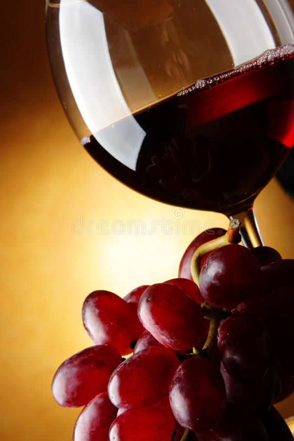 Grapes and red wine. Still life with bunch of grapes and red wine royalty free stock image