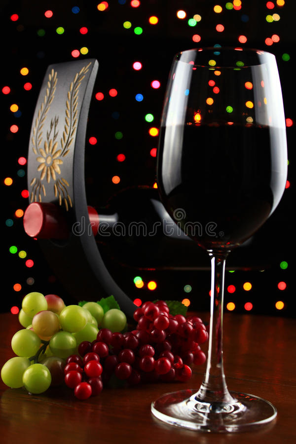 Grapes and red wine. stock photo