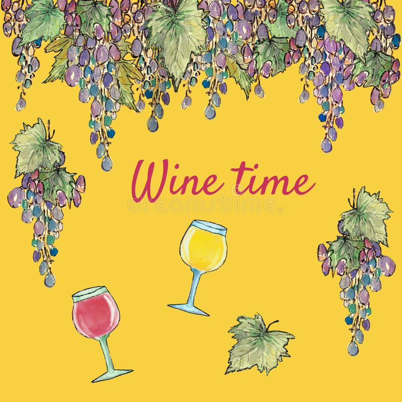 Grapes season and wine time, watercolor illustration stock illustration