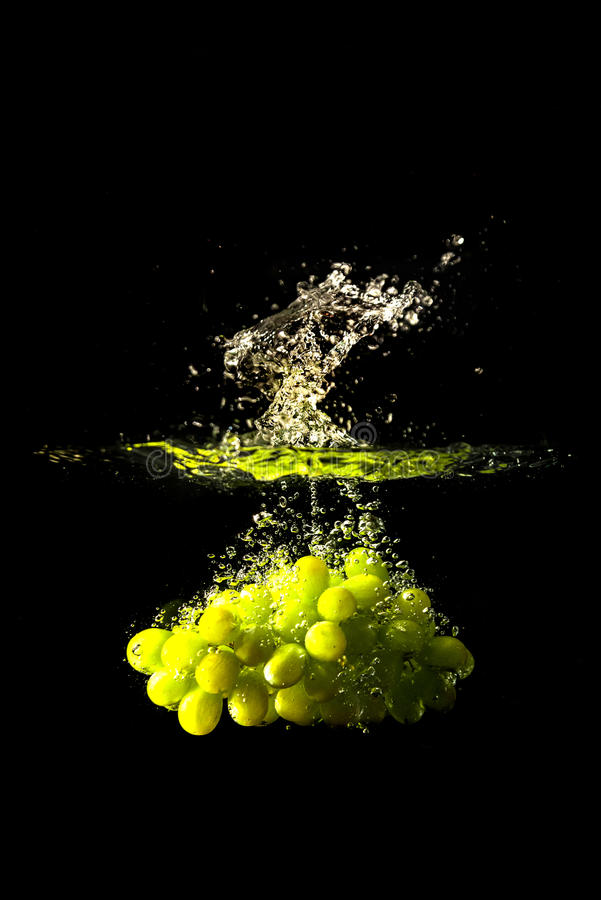 Grapes splash. In water with droplets royalty free stock photography
