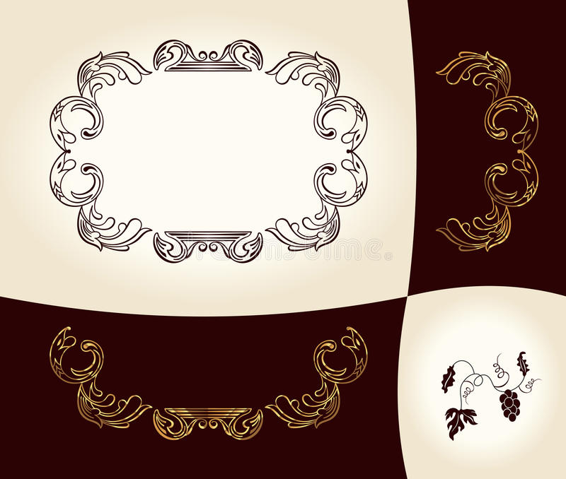 Download Grapes Vintage Frame Baroque Ancient Stock Vector - Image: 18866171