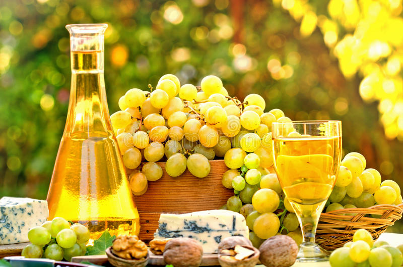 Download Grapes and white wine stock image. Image of cheese, drink - 36262031
