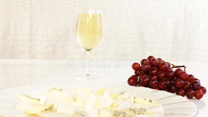 Cheese Snacks with Wine stock photos