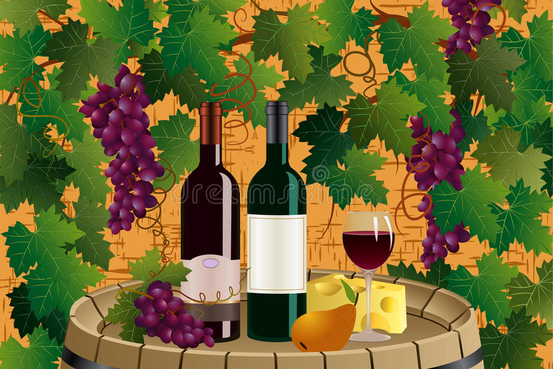 Grapes and wine royalty free illustration