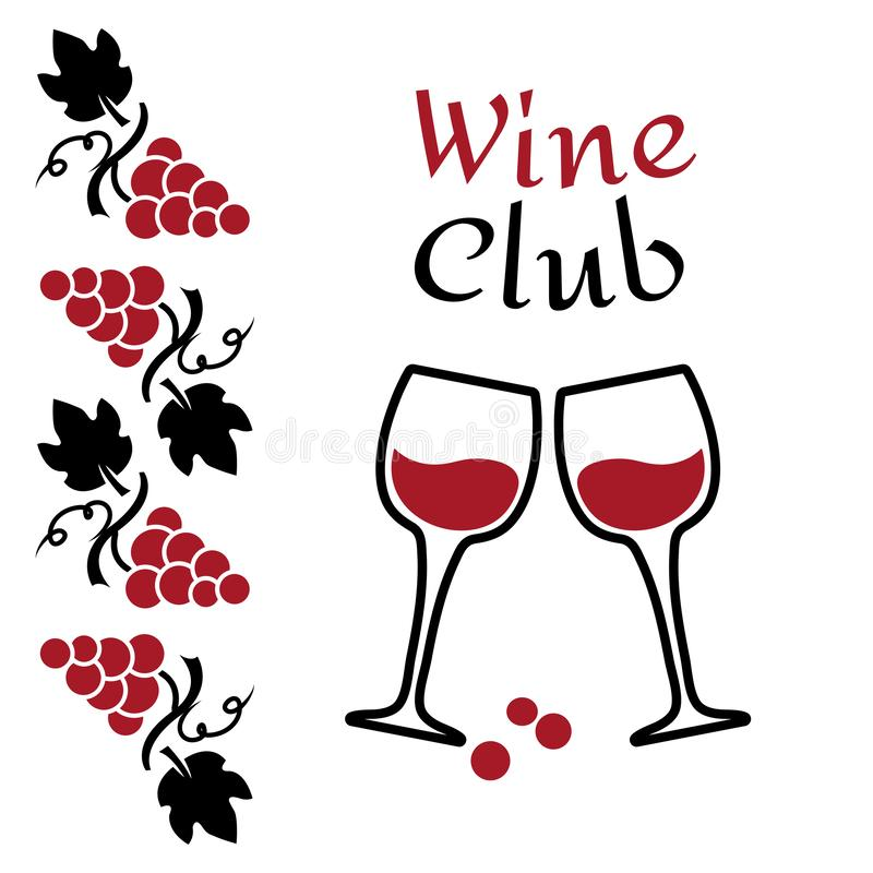 Grapes and wine glasses. Wine logo design. Red and black brand for wine club or company. Vector vector illustration