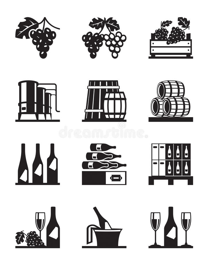 Grapes and wine icon set vector illustration