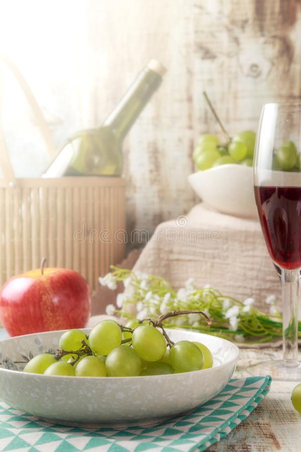 Grapes and wine. Ripe grapes and delicious wine stock photo