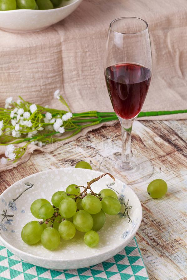 Grapes and wine. Ripe grapes and delicious wine stock images