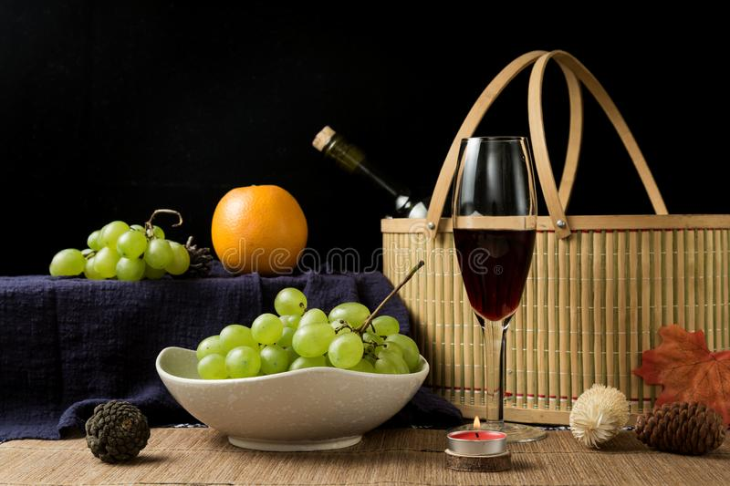 Grapes and wine. Ripe grapes and delicious wine stock image