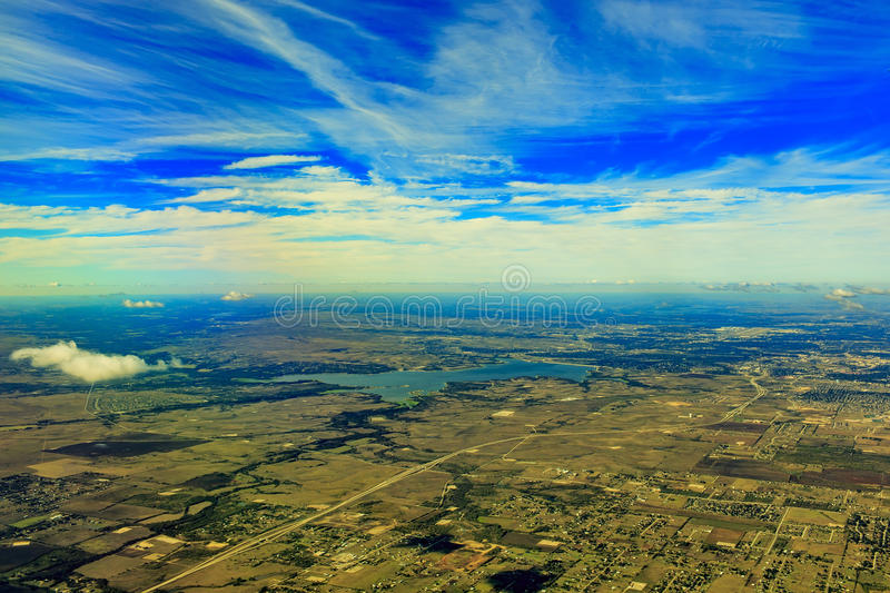 Grapevine Lake from top. Aerial view of Grapevine Lake, Dallas around mornin time stock image