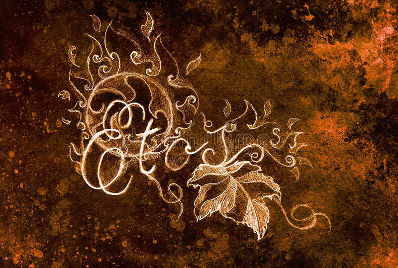 Grapevine leaves and text and ornament with fire flames. Drawing on paper. royalty free illustration