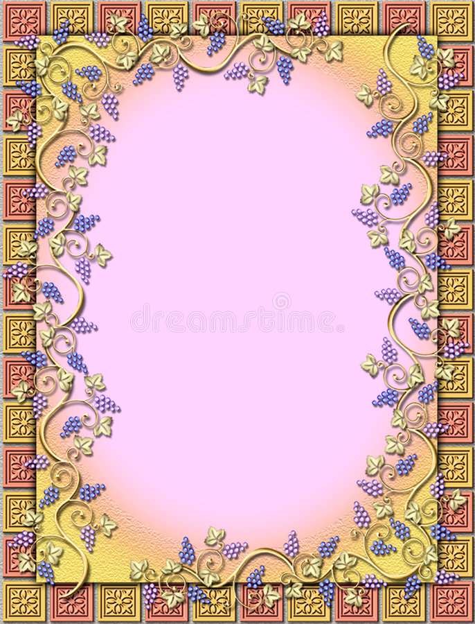 Grapevine & tile frame royalty free stock photography