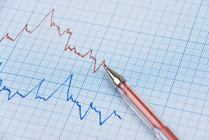 Graph. Financial graph made on millimeter paper in two colors ,red pen on the top line royalty free stock photography