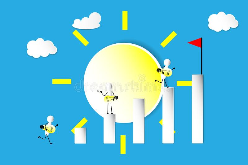 The Graph and leader concept, sun. The graph in idea, thinking and leader concept, the lamp in idea and leader stock illustration