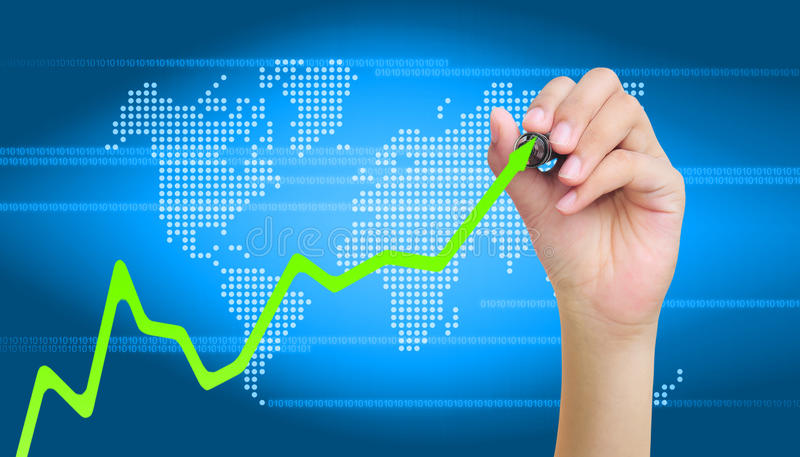 Graph. Hand drawing business a graph royalty free stock images